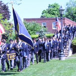 Members of Trinity-Pawling School's graduating class take part in the procession al during commence ment on Sunday.
