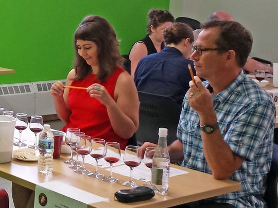 Allison Geyer, staff writer at Isthmus in Madison, and Finn Berge, owner of Barriques in Madison, were among the Wine is Wisconsin judges.