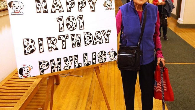 Here Phyllis Chapman is at age 101. Now almost 103, she voted early Thursday at Hingham Town Hall.