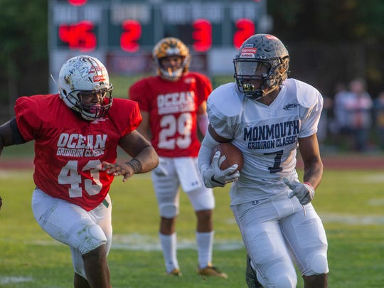 Monmouth's Naseim Brantley rounds the corner and outruns