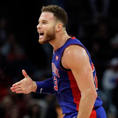 Detroit Pistons forward Blake Griffin reacts after