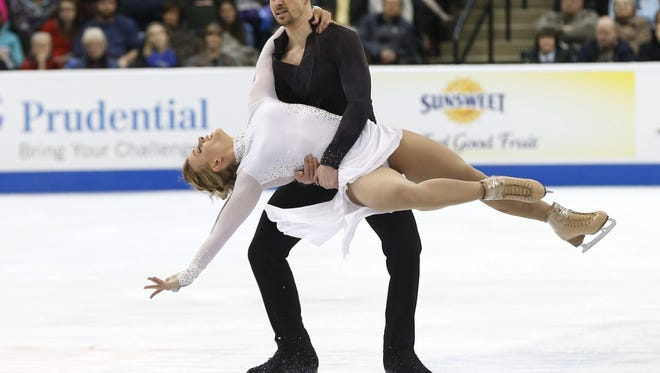 Madison Hubbell and Zachary Donohue compete in the U.S. Figure Skating Championships last month in Minnesota.