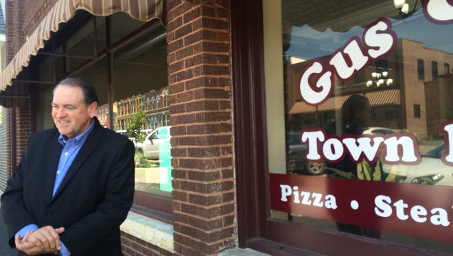 Mike Huckabee makes a campaign stop Wednesday at Gus & Tony's Town House Cafe in West Union.