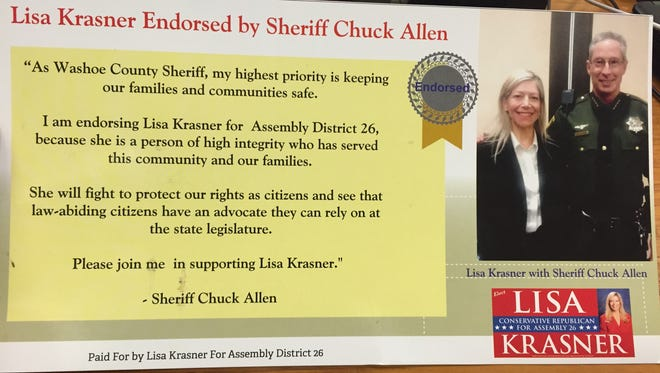 A campaign flier featuring Assembly District 26 candidate Lisa Krasner with an endorsement from Washoe County Sheriff Chuck Allen. Krasner's opponent, Jason Guinasso, alleged the mailer violates Nevada ethics code since Allen is in uniform with his badge.