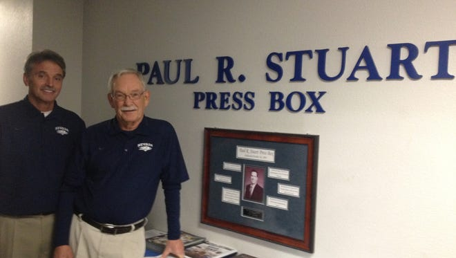 Chris West, left, and Gregg Zive have both logged 40-plus years on Nevada's stat crew. West will join Zive as recipients of the Silver and Blue Service Award on Friday.