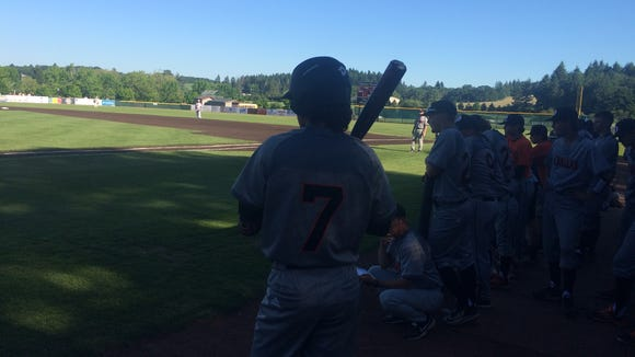 Dallas baseball player Tanner Earhart waits on deck Friday against Crescent Valley.