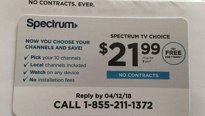 Spectrum Non-subscribers are receiving a solicitation promising a selection of channels for $22.