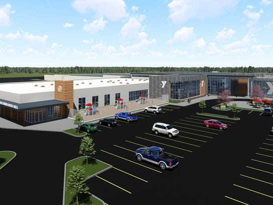 A rendering of a new Boys & Girls Club and YMCA building