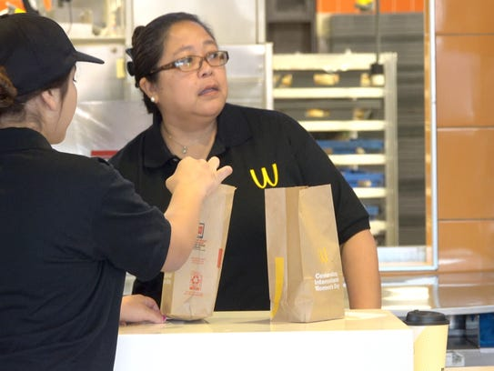 The McDonald's golden arches logo on a Lynwood, Calif.,