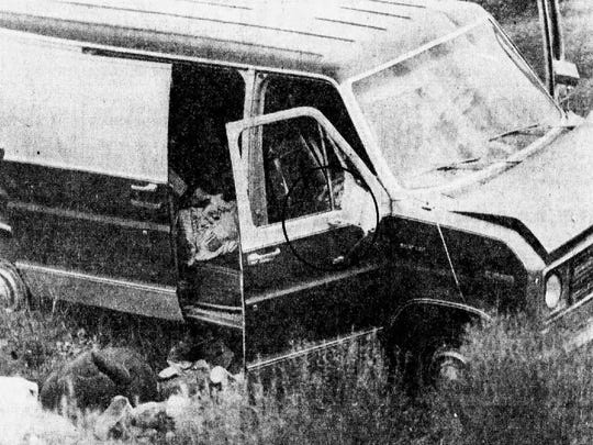 A photo from The Republic's archives on Saturday, Aug. 12, 1978, of the van the gang stole from a Texas couple. Circled is Donald Tison's body after he was shot by deputies at a roadblock.