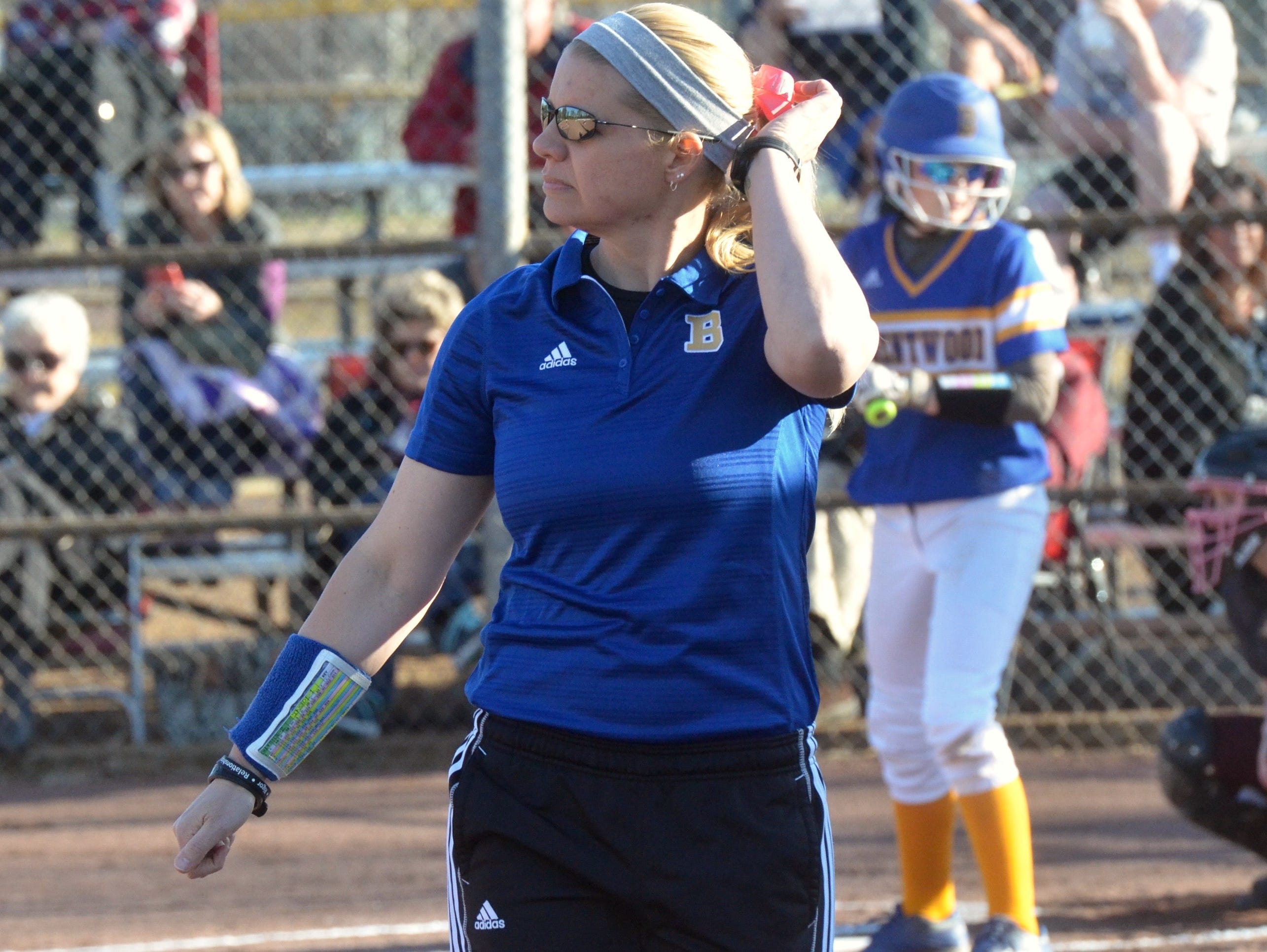 First-year Brentwood coach Erica Powell looks on during Tuesday's District 11-AAA game against Franklin.
