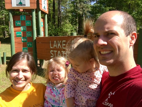 Travel and tourism reporter Leigh Guidry and family