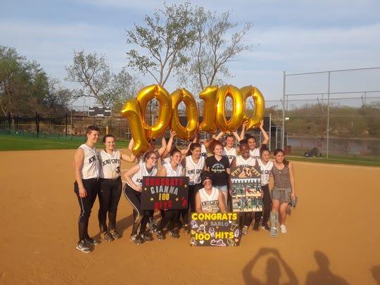 Bergen Tech celebrates Gianna Sarlo's 100th hit.