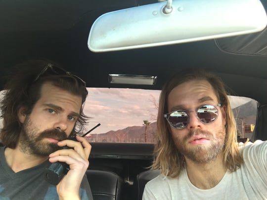 Wes Marskell on left and Jason Couse on right of The Darcys during a music video shoot in the desert in 2016. They also shot at the Aloha Hotel in Palm Springs.