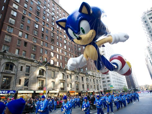 Handlers keep a tight rein on the Sonic the Hedgehog balloon at last year's Macy's Thanksgiving Day Parade in New York.