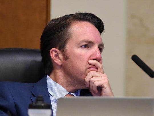 Reno council member David Bobzien attends the Reno City Council meeting on May 28, 2015.