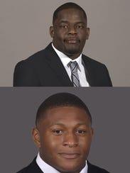 Linebackers Genard Avery (top) and Shareef White.