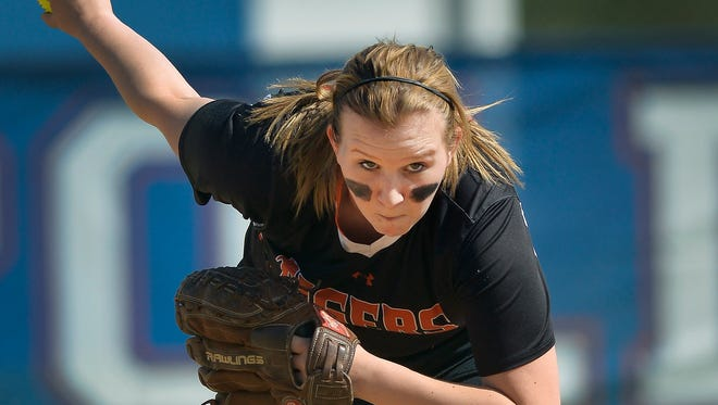 St. Cloud Tech's Melissa Bautch pitches in the first inning Monday, May 16, against St. Cloud Apollo at Apollo High School. Bautch and her St. Cloud Tech teammates shut out the Eagles, 8-0.