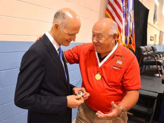 After receiving his Governor's Veterans Service Medal,