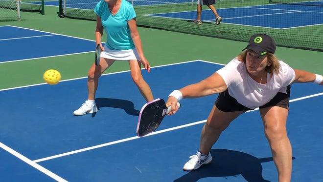 An estimated 300 pickleball players take part in the sport at the Manklin Sports Complex.