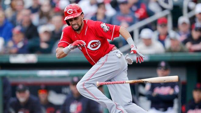 Cincinnati Reds center fielder Billy Hamilton (6) runs for first before being thrown out on a bunt in the top of the third inning of the Spring Training opening game between the Cleveland Indians and the Cincinnati Reds at Goodyear Stadium in Goodyear, Ariz., on Friday, Feb. 23, 2018.