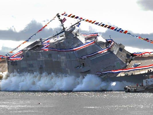 USS Detroit-Christening