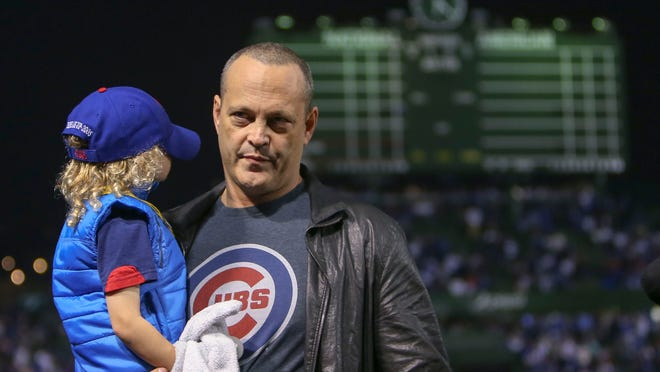 Oct 29, 2016; Chicago, IL, USA; American actor Vince Vaughn before game four of the 2016 World Series between the Chicago Cubs and the Cleveland Indians at Wrigley Field. Mandatory Credit: Jerry Lai-USA TODAY Sports ORG XMIT: USATSI-348582 ORIG FILE ID:  20161028_kkt_sl8_028.jpg