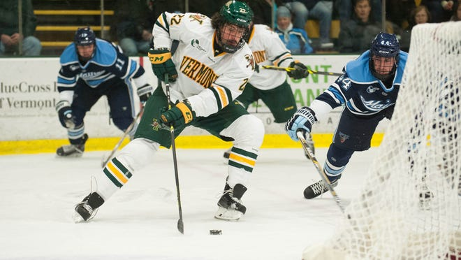 Catamounts forward Brady Shaw (22), seen in action earlier this season, scored two of UVM's 11 goals Saturday.