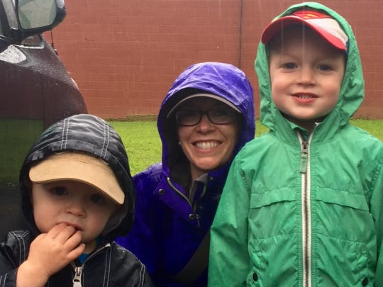 Evan Hall, 2, and his brother Carter, 5, attended the parade on Saturday with their mother, Olivia Hall.