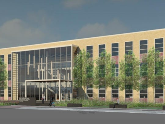 Proposed design for a new city administration building.