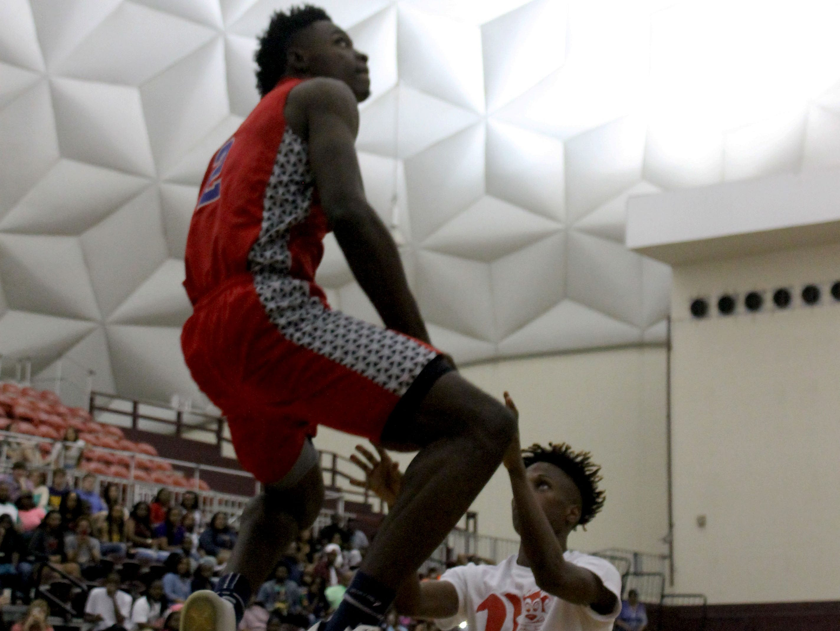 Lakeview senior Adrio Bailey goes up for a dunk during the dunk contest at Saturday's I-20 Classic All-Star game.