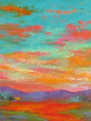 "One of Jeri Desrochers' oil paintings, ""Turquoise Sky."""