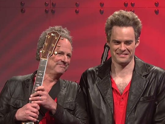 Lindsey Buckingham, left, with Bill Hader on 'Saturday