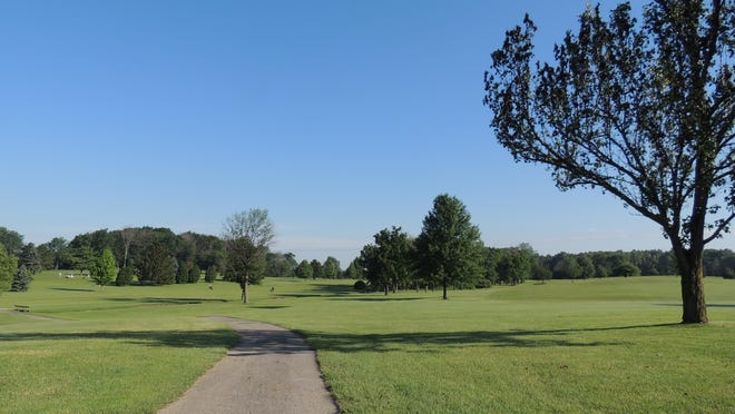 The view from the hole two tee box shows the need for a great drive on the dogleg right.
