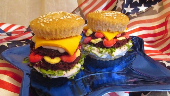 Goodie-licious cheeseburger cupcakes are all-American fun.