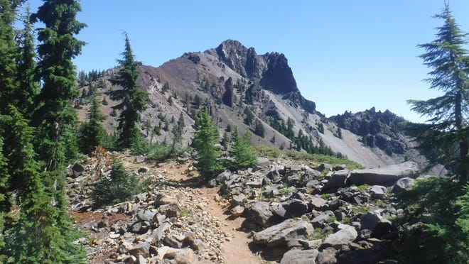 The Pacific Crest Trail heads up Cowhorn Mountain.