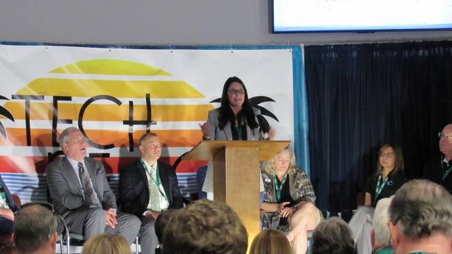 Palm Coast Mayor Milissa Holland addresses the crowd during the opening ceremony for the inaugural Tech Beach Hackathon, staged at Palm Coast City Hall over the weekend. Jan. 19, 2020