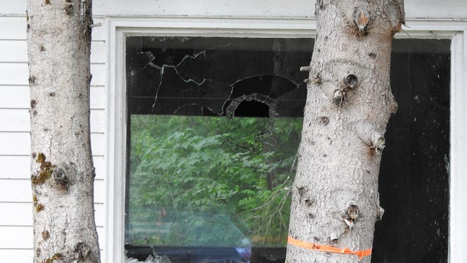 Damage to the cottage at Ingleside in the Winchendon Community Park.