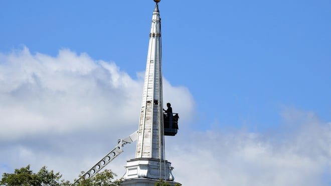 It was a perfect day for steeple repair at the United Parish of Winchendon.