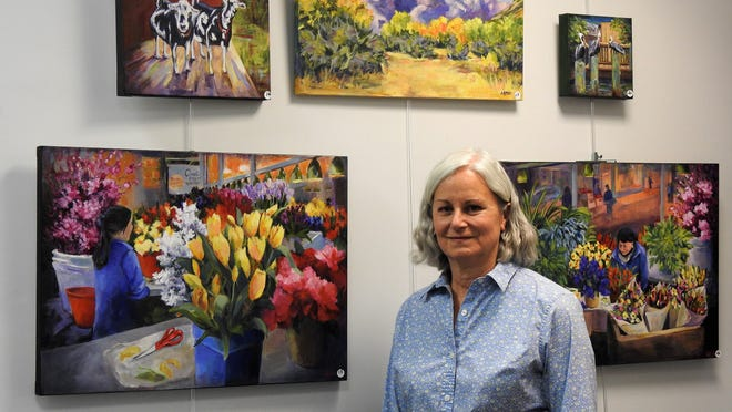 Artist Leeann Lamsa brings color to the Little Art Gallery in Westminster Town Hall.