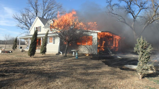 A fire Wednesday destroyed a house east of Salina, causing $750,000 in damage.