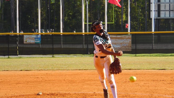 Aaliyah Williams of Islands delivers a pitch in her complete-game 3-2 playoff win over Columbus Monday.