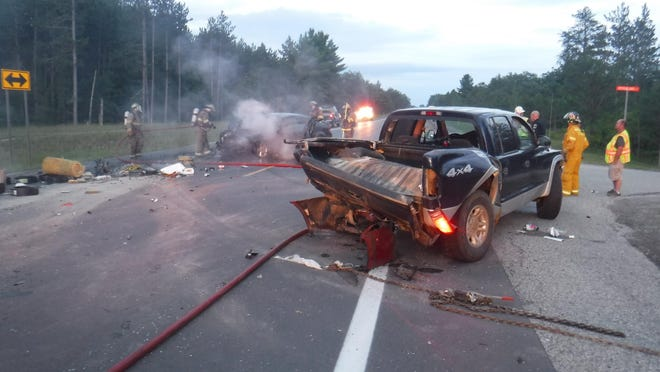 This 2009 Dodge Avenger became fully engulfed in flames after the 18-year-old driver rear ended a pickup attempting to turn into the Michigan Oaks Campground on M-68 Highway in Koehler Township. Contributed photo