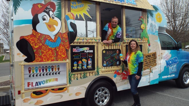 Mike and Carol Mahoney of Kona Ice Southern Dutchess support their community by giving back 25 percent of their earnings made from sales of their tropical ice treats during an organization's event, as hosted by a school, sports team, workplace, church or other concern.