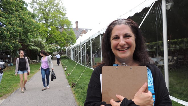 Deby Finkelstein, director of college events at Sarah Lawrence College, is handling the logistics for college's 86th Commencement, to be held Friday morning at 10 a.m. The tent on the campus could nearly cover a football field, measuring 260 feet by 60 feet.