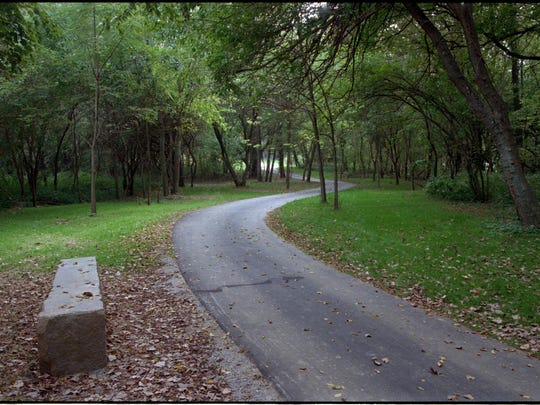 This limestone bench offers hikers a resting spot as