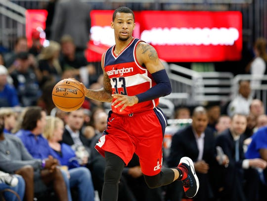 Trey Burke during the 2016-17 season with the Washington Wizards.