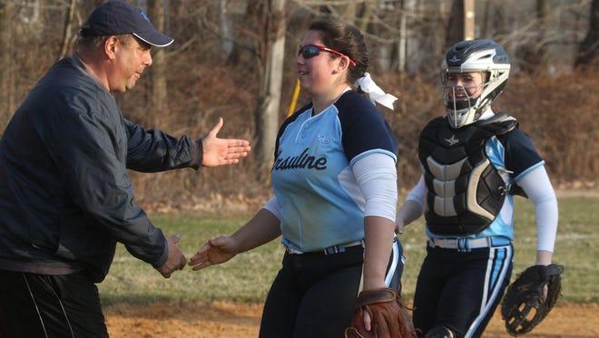 Ursuline softball won 7-6 at North Rockland Apr. 6, 2015.