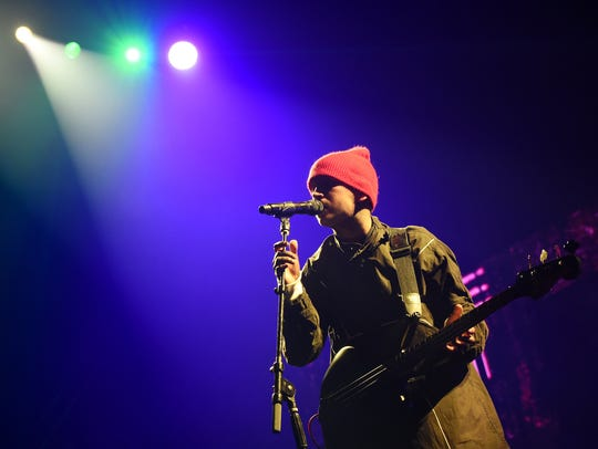 Tyler Joseph of Twenty One Pilots performs at the Hangout