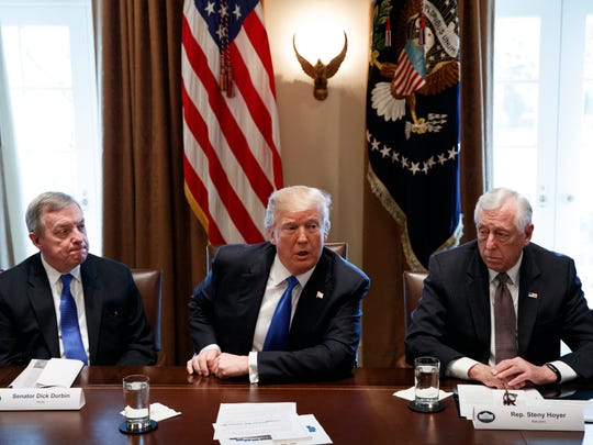 President Trump with Sen. Dick Durbin, D-Ill., left, and Rep. Steny Hoyer, D-Md., at the White House on Jan. 9, 2018.